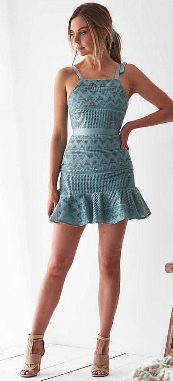 blue spaghetti strap dress #spring #outfits