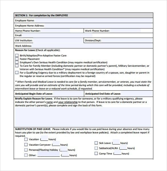 Application Sample For Leave For Leave Extension Format And - example of leave form