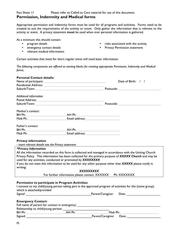 ... Indemnity Forms Indemnity Agreement Template Sample Form   Medical  Record Release Form Template ...