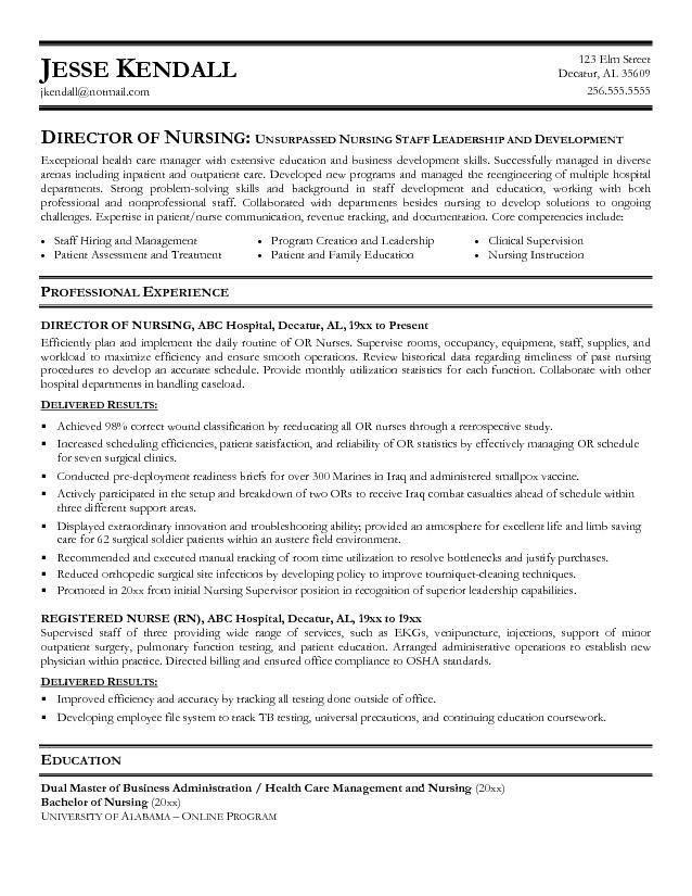 Sample Nurse Manager Resume Nurse Manager Resume Cv Job - director of nursing job description