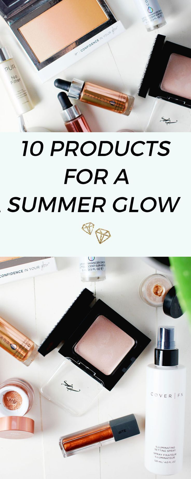 Beauty products that give a summer glow with highlighting and illumination qualities #highlighter #makeup #makeupartist