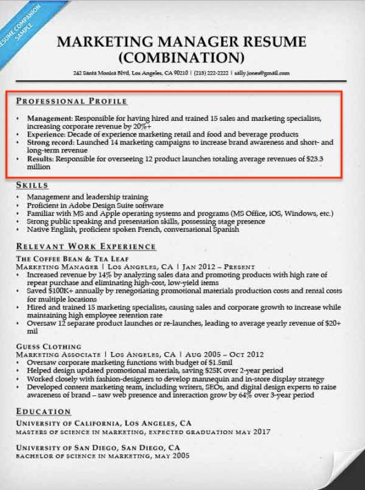 profile section of resume examples resume examples sales manager