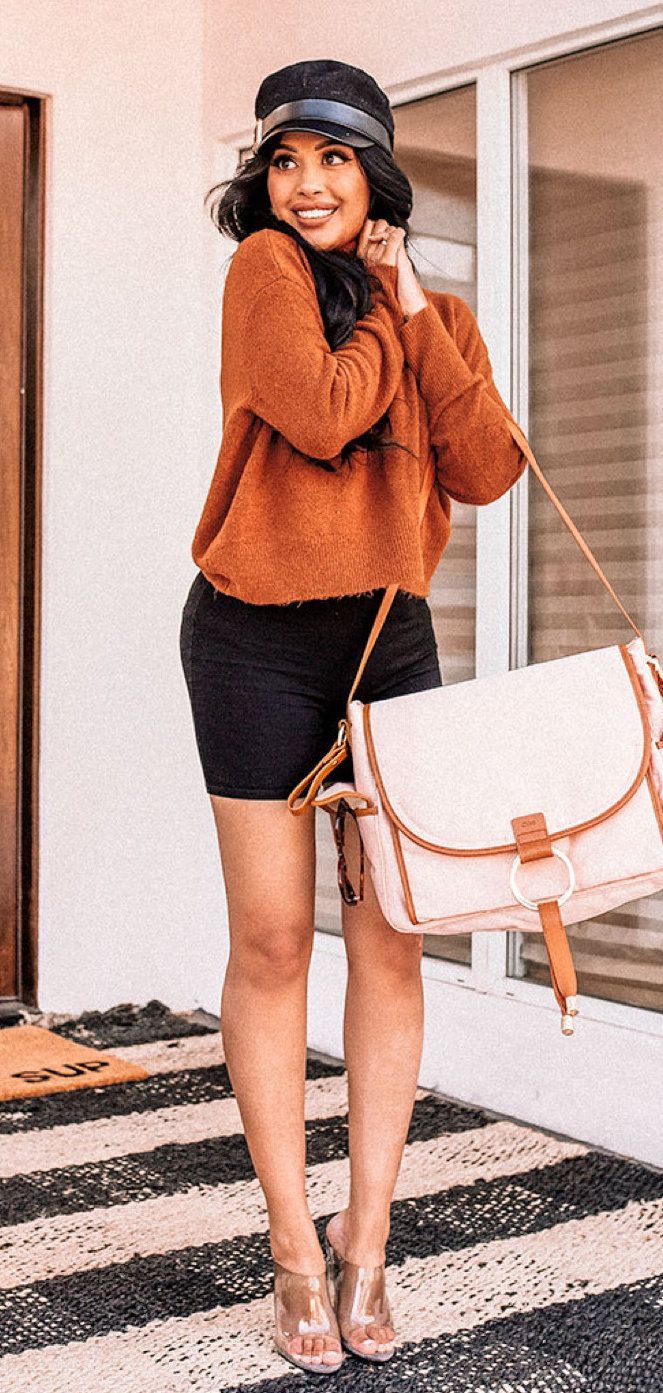 brown and black leather sling bag #winter #outfits
