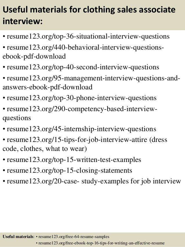 resume - Clothing Sales Resume