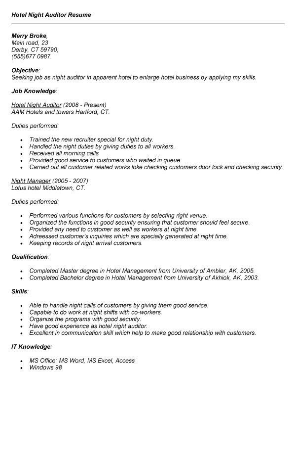 Night Auditor Job Hotel Description Resume