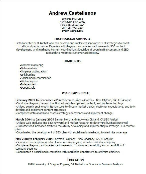 ... Media Resume Template Media Cv Template Job Seeker Tv Film Radio    Sample Seo Resume ...