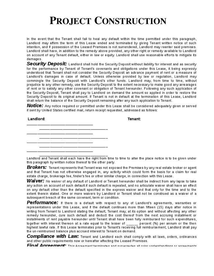 Commercial Construction Contract Template Construction Contract - project contract templates