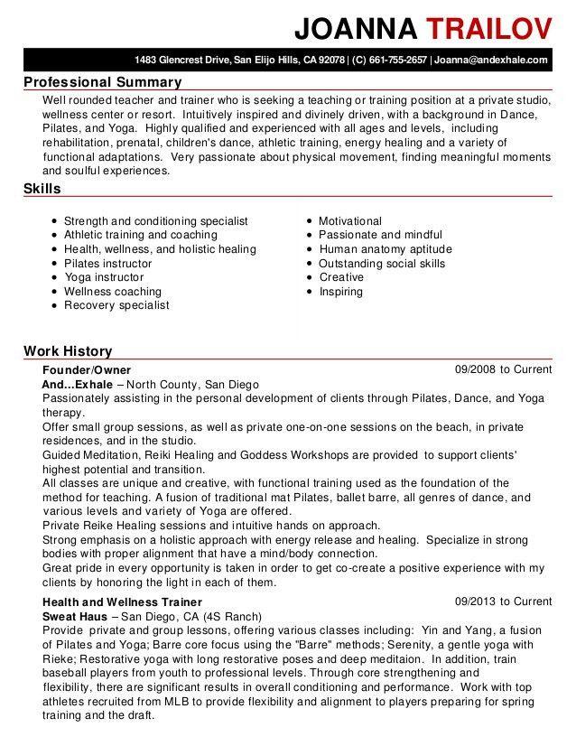 physical training instructor resume