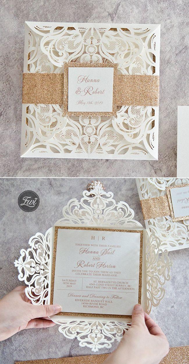 Popular laser cut wedding invitation with glitters