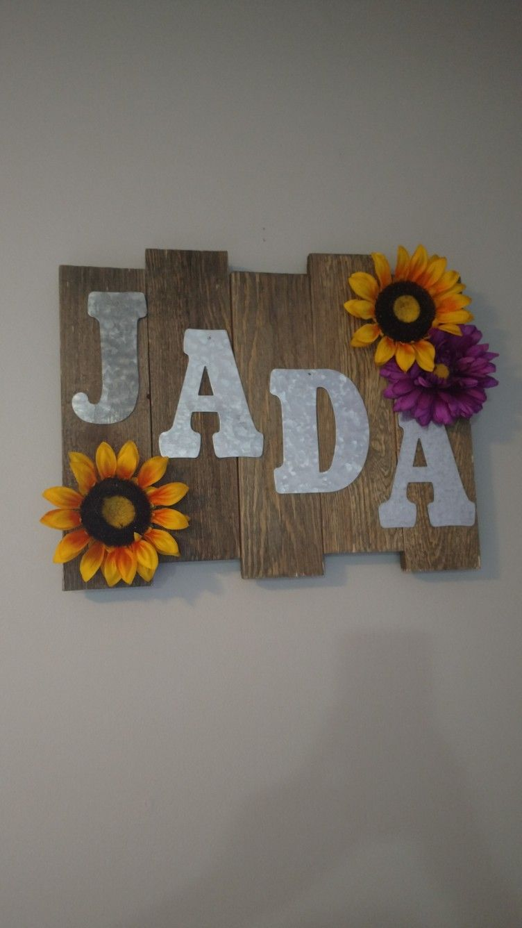 The pallet and tin letters are from Walmart. Letters and