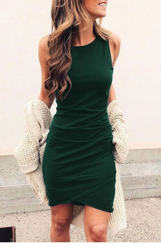 Nice green dress and a cardigan