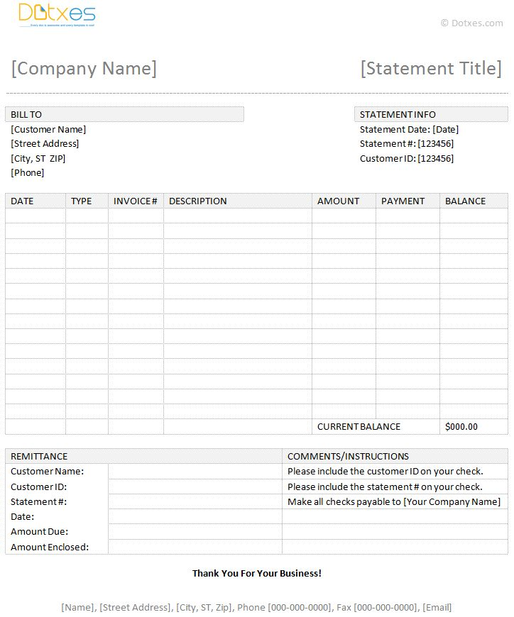 Word Statement Template Invoices Officecom, Financial Statement - billing statement template