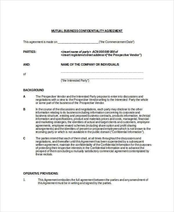 Mutual Agreement Sample 10 Divorce Agreement Templates Free - vendor confidentiality agreement