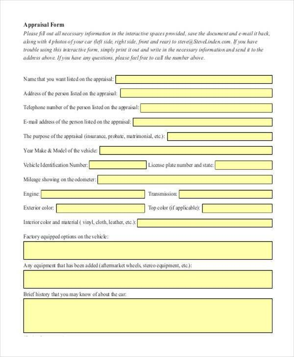 Appraisal document template