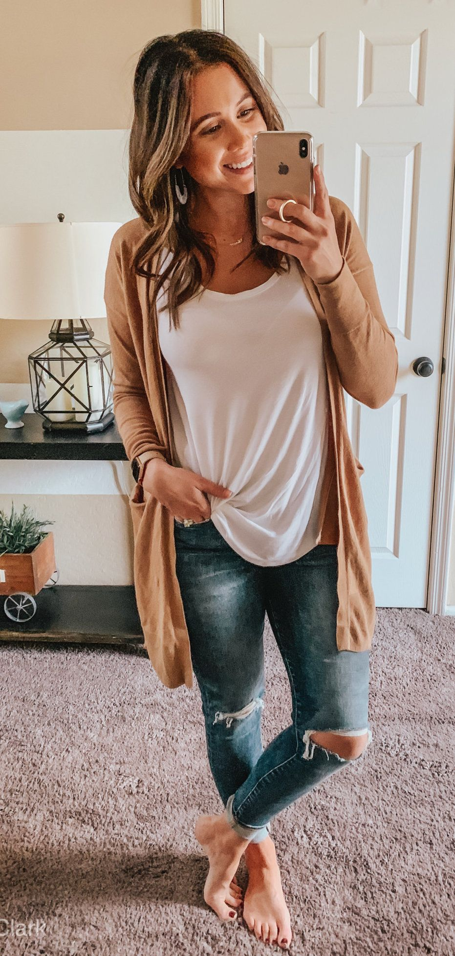 white scoop-neck shirt #spring #outfits