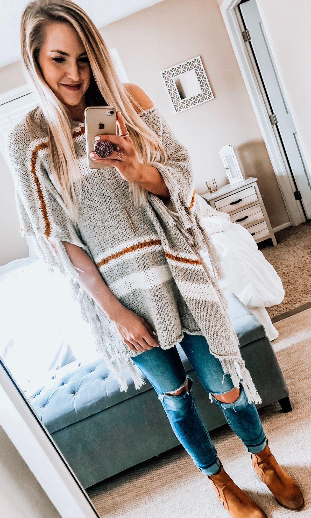 gray and white knit off shoulder top #spring #outfits