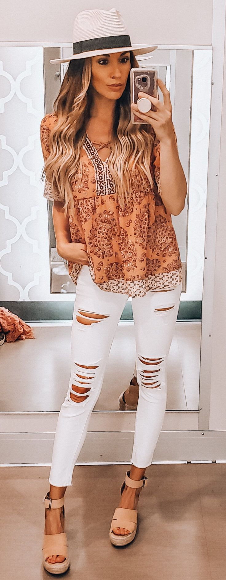 orange blouse #summer #outfits