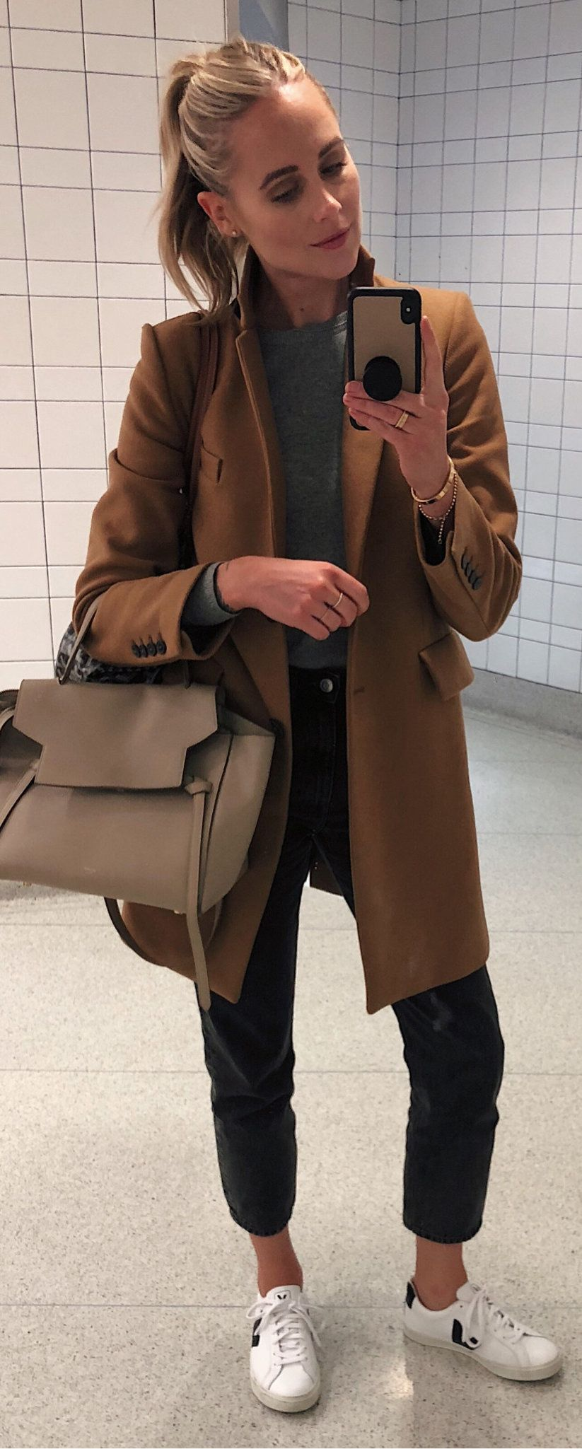 brown pea coat