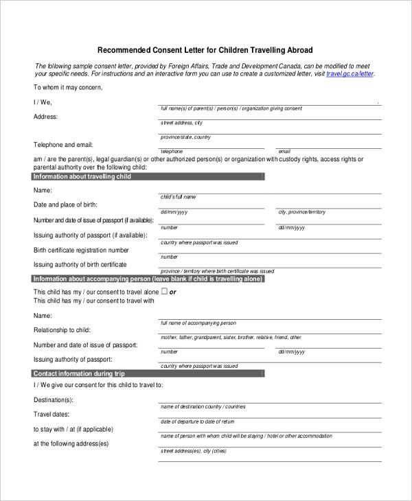 Sample Permission Letter For Traveling Child Child Travel Consent - passport consent forms