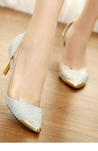 Glam white glitter shoes with gold details