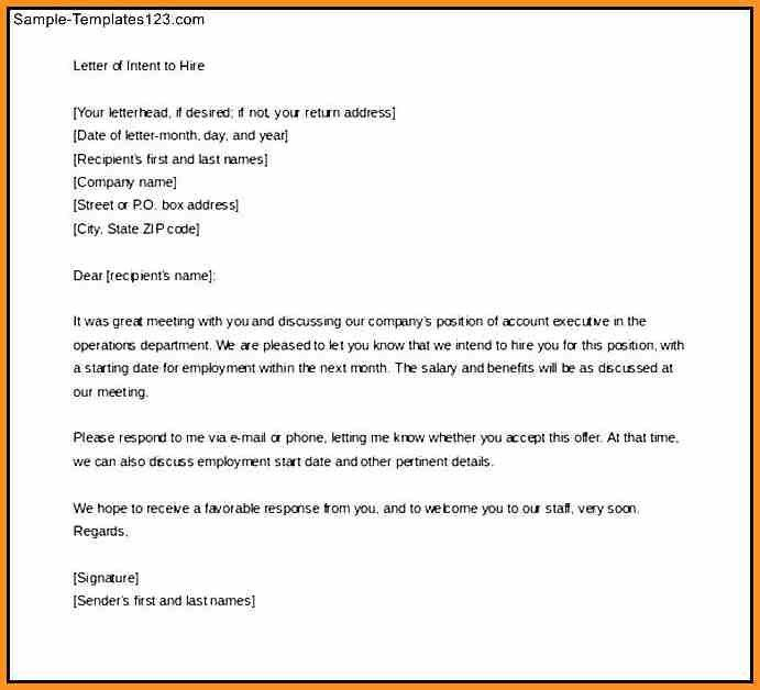 Letter Of Intent To Hire Template 9 Employment Letter Of Intent - letter of intent for employment template