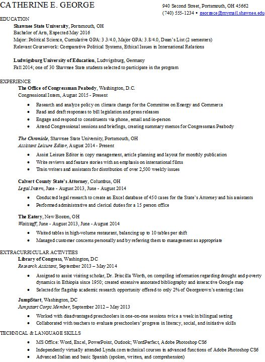resume example extracurricular activities