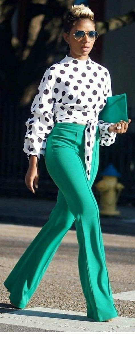 Polka dots blouse and green pants