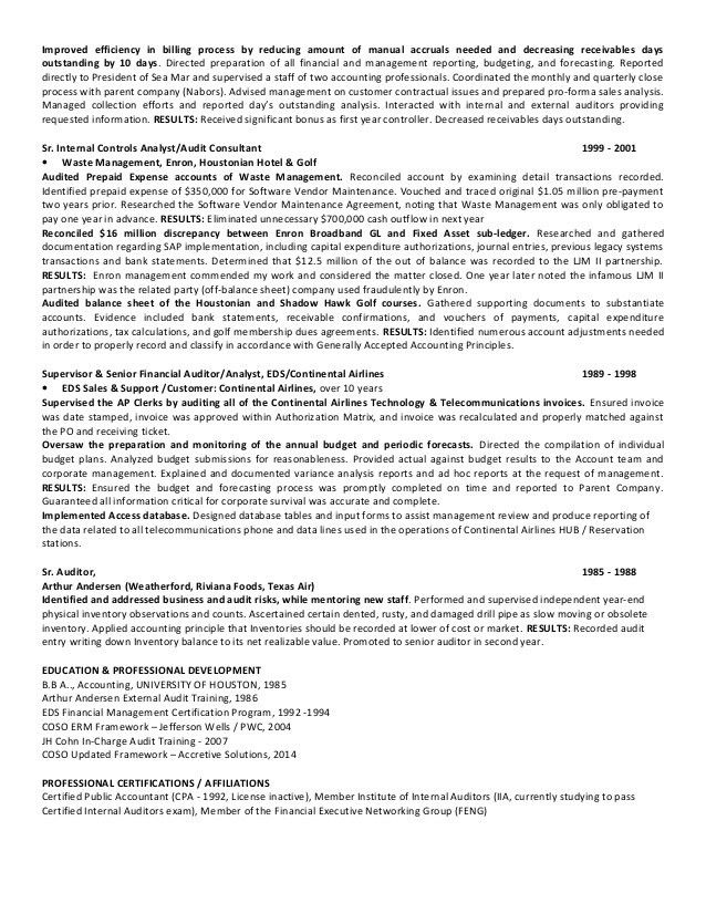 Certified Internal Auditor Sample Resume] Resume, Example ...