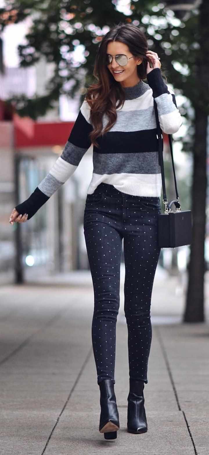 gray and black striped crew-neck sweatshirt