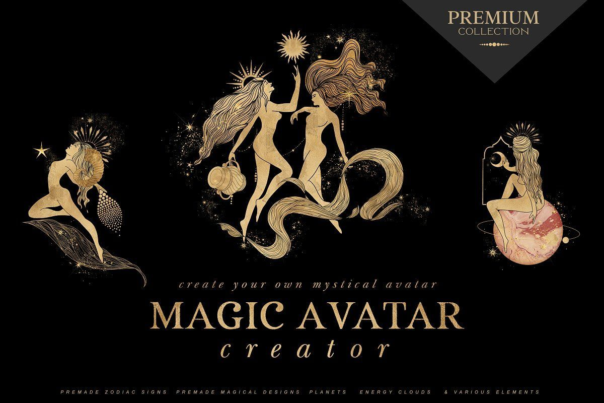 Create Magic!!! For those in love with mysticism and the sacred feminine, this Magic Avatar Creator allows you to create magic feminine and fluid designs in only a few clicks. In this pack you have available everything you need to create your own custom zodiac and magical avatar.