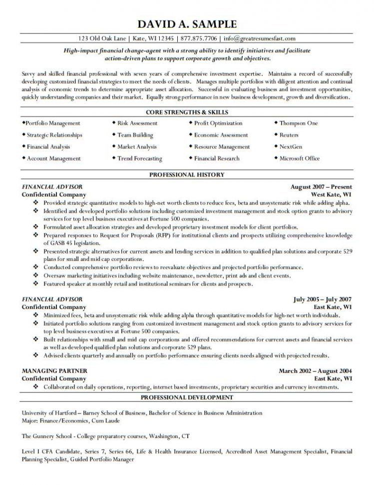 financial advisor sample resume sample resumes financial advisor investment analysis sample