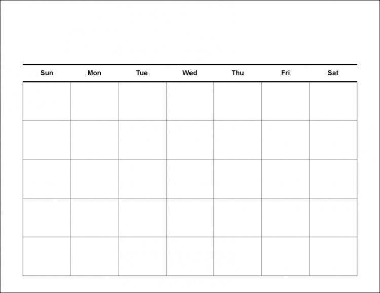 Blank Calendar Template Blank Calendar Template Free Printable - calendar template pdf
