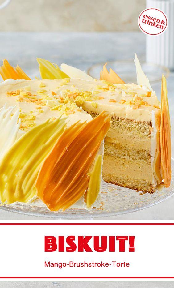 Rezept für Mango-Brushstroke-Torte