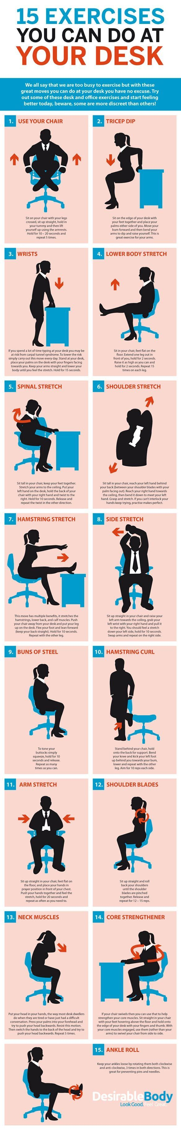 15 Exercises You Can Do at Your Desk