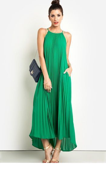 Cute green long dress with sandals and a bag