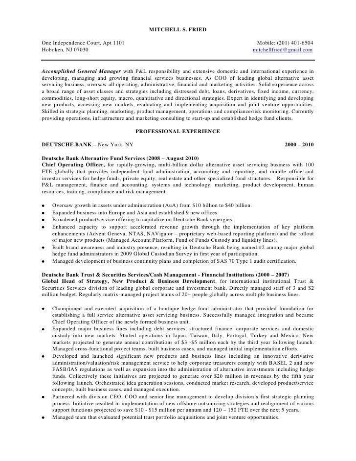 Hedge Fund Analyst Sample Resume] Quantitative Trading Resume ...