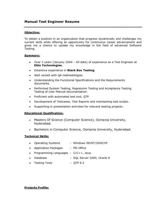 manual testing resume format beautiful manual testing experience