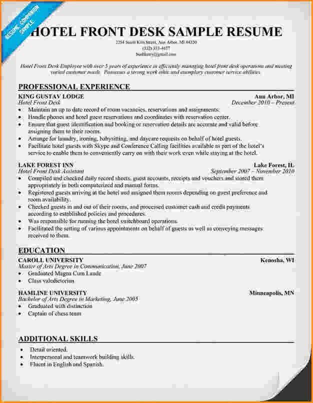Sample Hotel Receptionist Resume Hotel Receptionist Cv Sample - hotel front desk resume