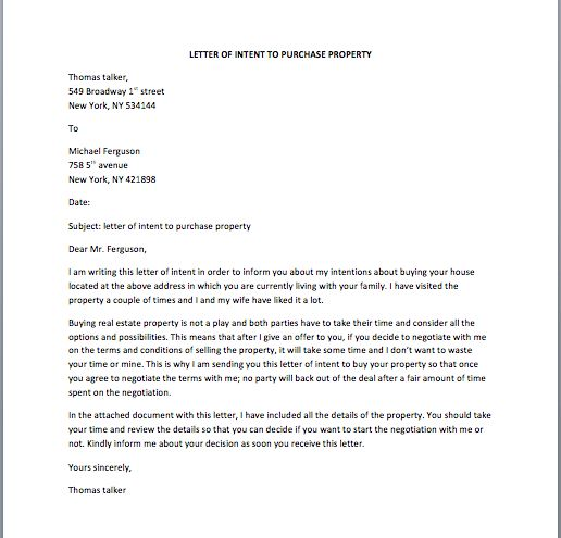 Sample Letter Of Intent To Sell Property 10 Letter Of Intent - sample letters of intent