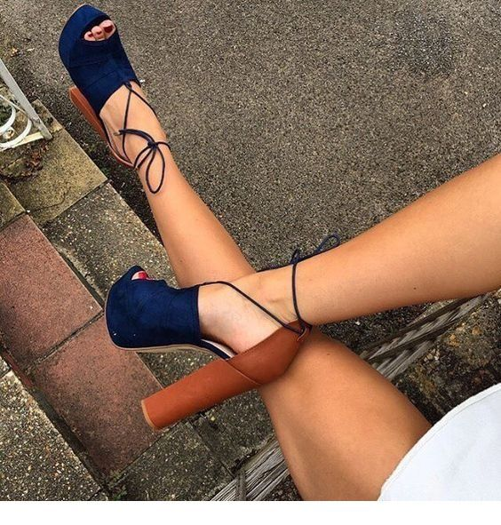 Navy and brown sandals