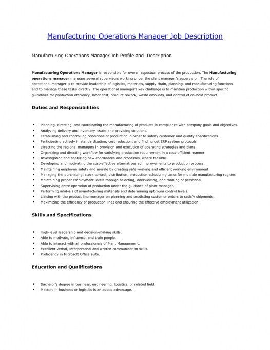 Plant Manager Job Description  CityEsporaCo