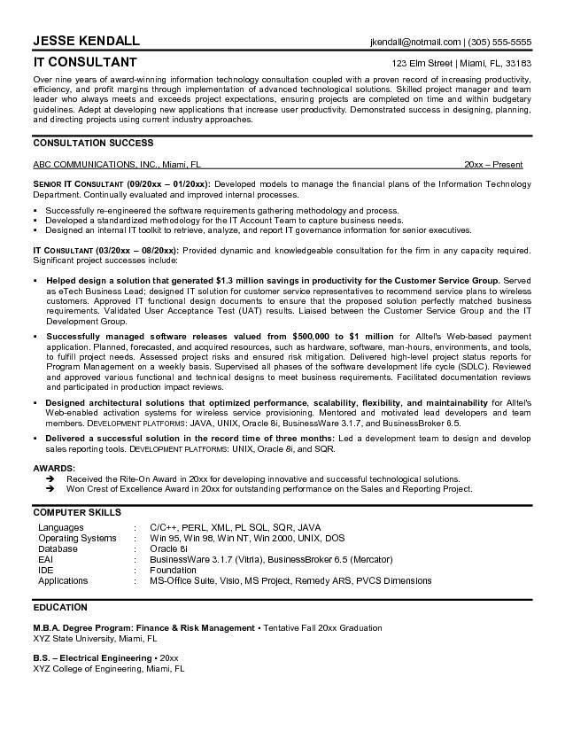 Consultant Resume Example - Examples of Resumes - Consultant Resume Example