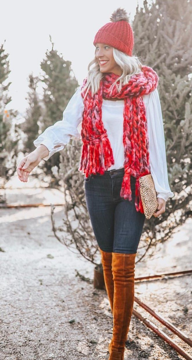 red and gray scarf