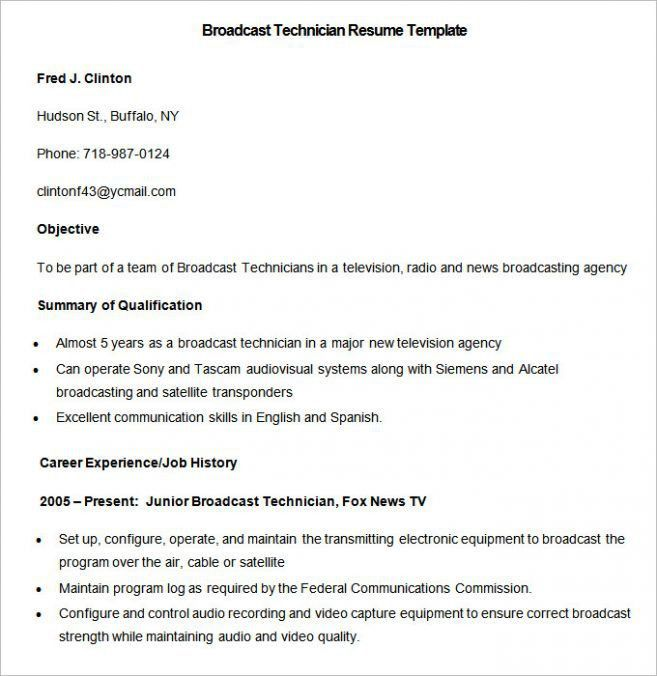 sample broadcast technician resume international broadcast