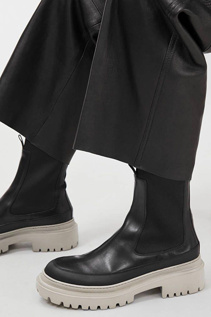 Chunky-Sole Leather Boots - Black/Grey - Shoes - ARKET DE