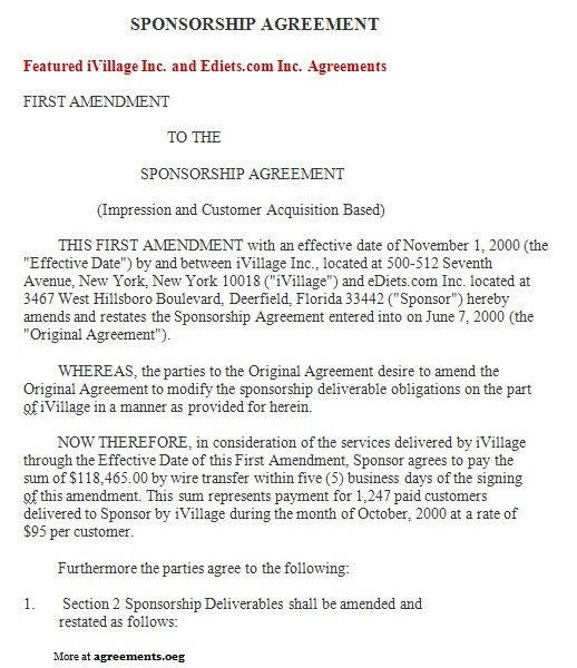Sponsorship Agreement Sponsorship Agreement Template Sample Form - contract amendment template