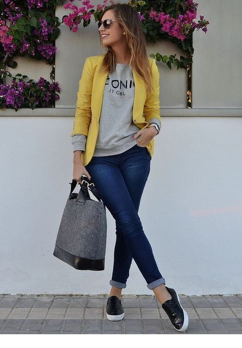 I like the yellow blazer in this combo