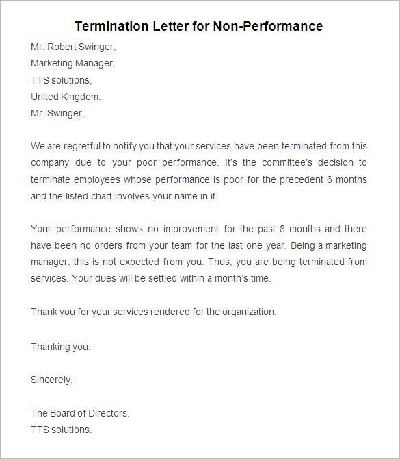 Letter Termination Employment] Termination Letter For