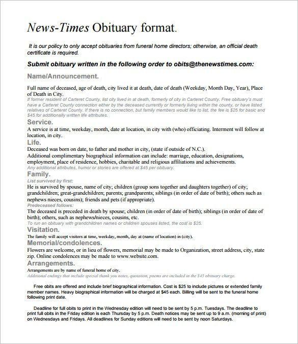 Obituary Example 25 Obituary Templates And Samples Template Lab - funeral obituary template