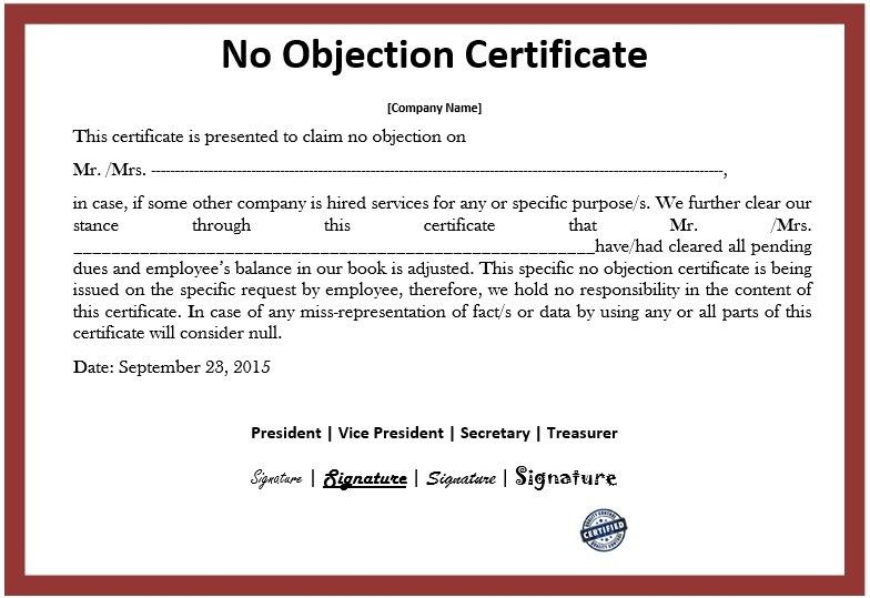 Sample Format Of No Objection Certificate From Employer No - samples certificate